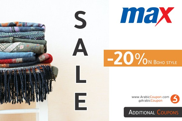 MaxFashion Sale on Boho style for 20% with additional Max Fashion coupon